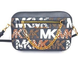 Michael Kors Crossbody Bag Purse Black Multi-color Monogram Animal Print NWT NEW